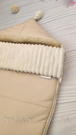Зимний конверт-чехол на овчине в коляску, чехол в люльку, конверт на выписку / спальник в коляску, фото 2