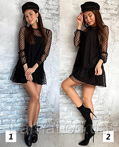 Стильное платье в горошек черного цвета 42-44, 44-46 р.