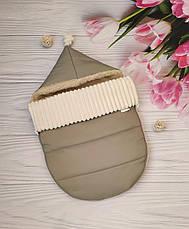 Зимний конверт-чехол на овчине в коляску, чехол в люльку, конверт на выписку / спальник в коляску, фото 3