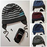 Демисезонная шапочка для мальчика на хлопковой подкладке на завязках весна-осень Размер 48-50 см 1-3 роки