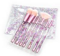Набор кистей для макияжа с блестками 7шт Merry pink, фото 1