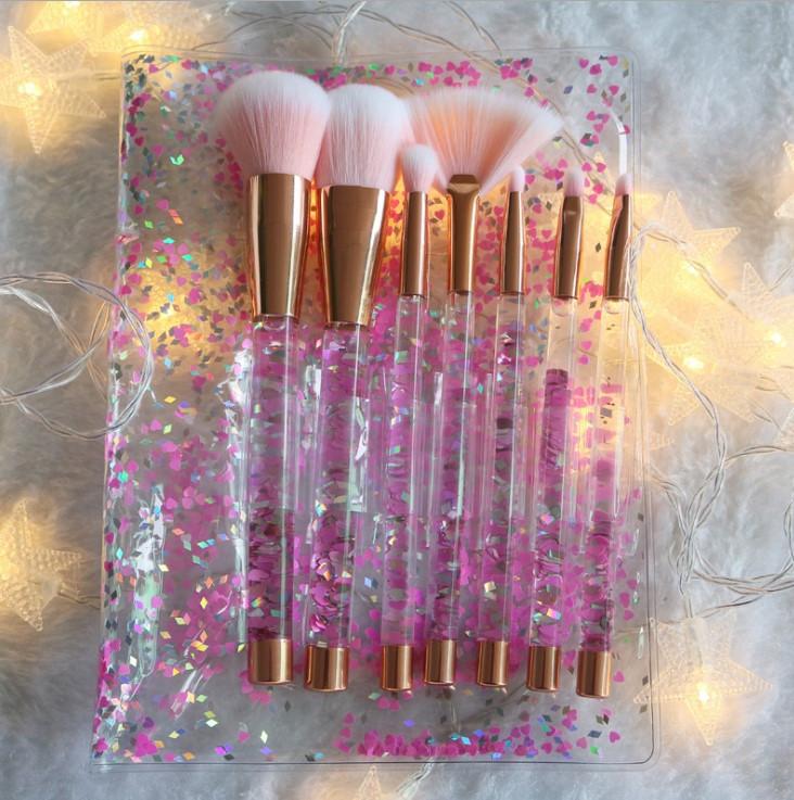 Набор кистей для макияжа с блестками 7шт Merry pink