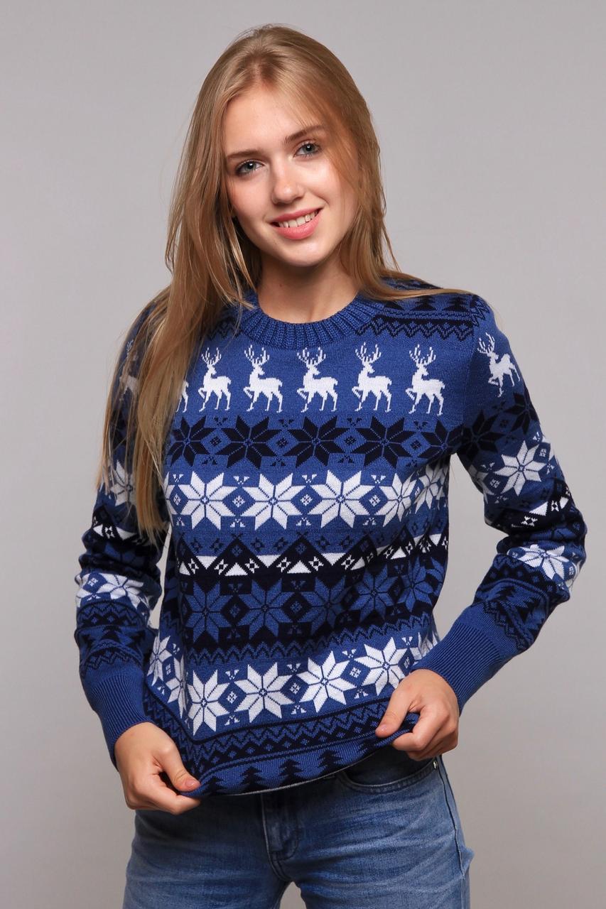 Модный вязанный свитер с оленями с 44 по 50 размер
