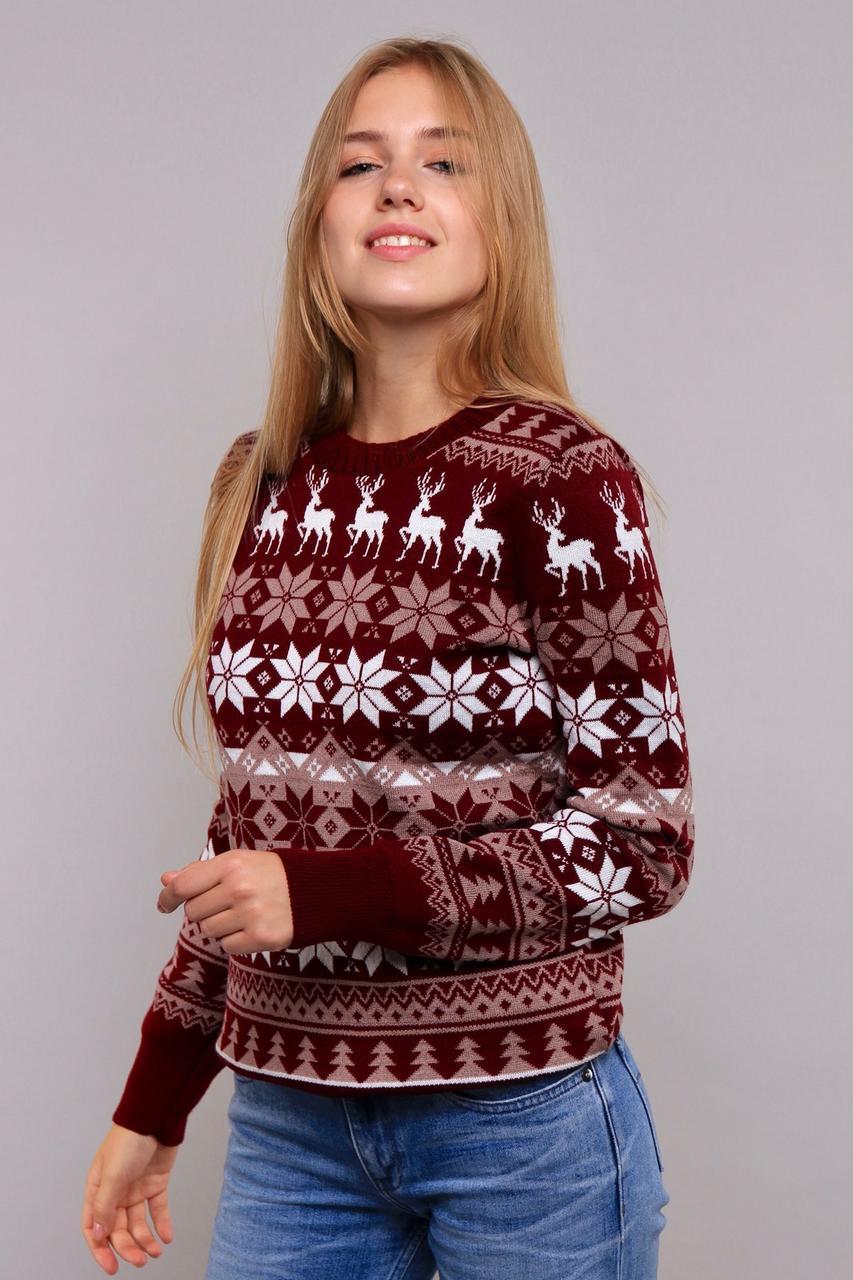 Женский вязанный свитер с оленями с 44 по 50 размер