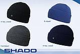 Чоловіча шапка на флісі з відворотом тільки чорна, фото 3