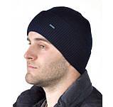 Чоловіча шапка на флісі з відворотом тільки чорна, фото 4