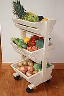 """Лоток для овощей и фруктов """"Окра"""" на колёсиках бланже"""