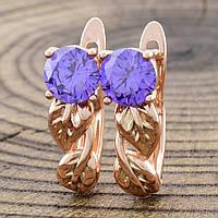 Серьги размер 16*5 мм, фиолетовые фианиты, позолота 585 пробы,медицинское золото