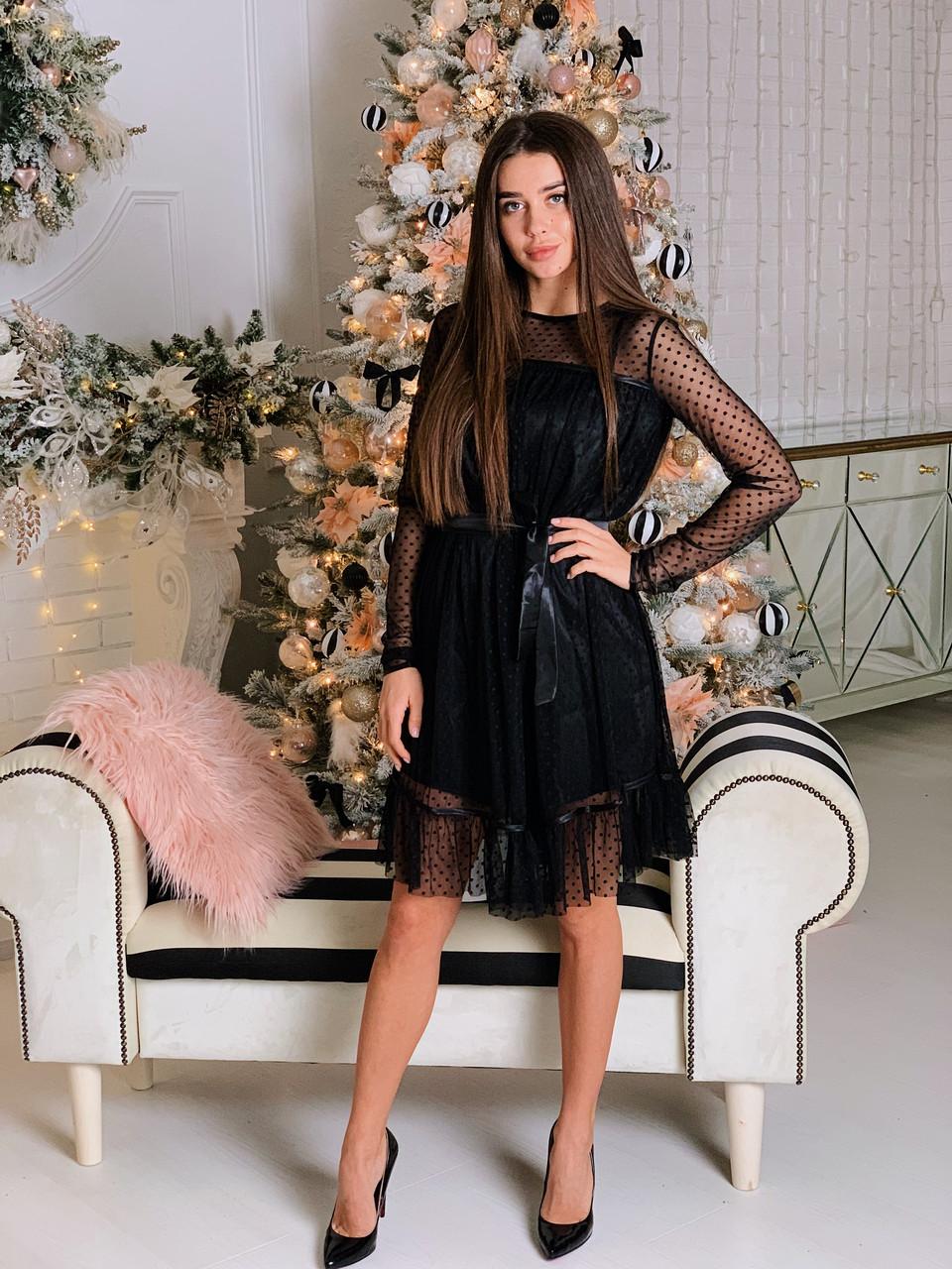Платье черное в горошек  К 00507 с 02