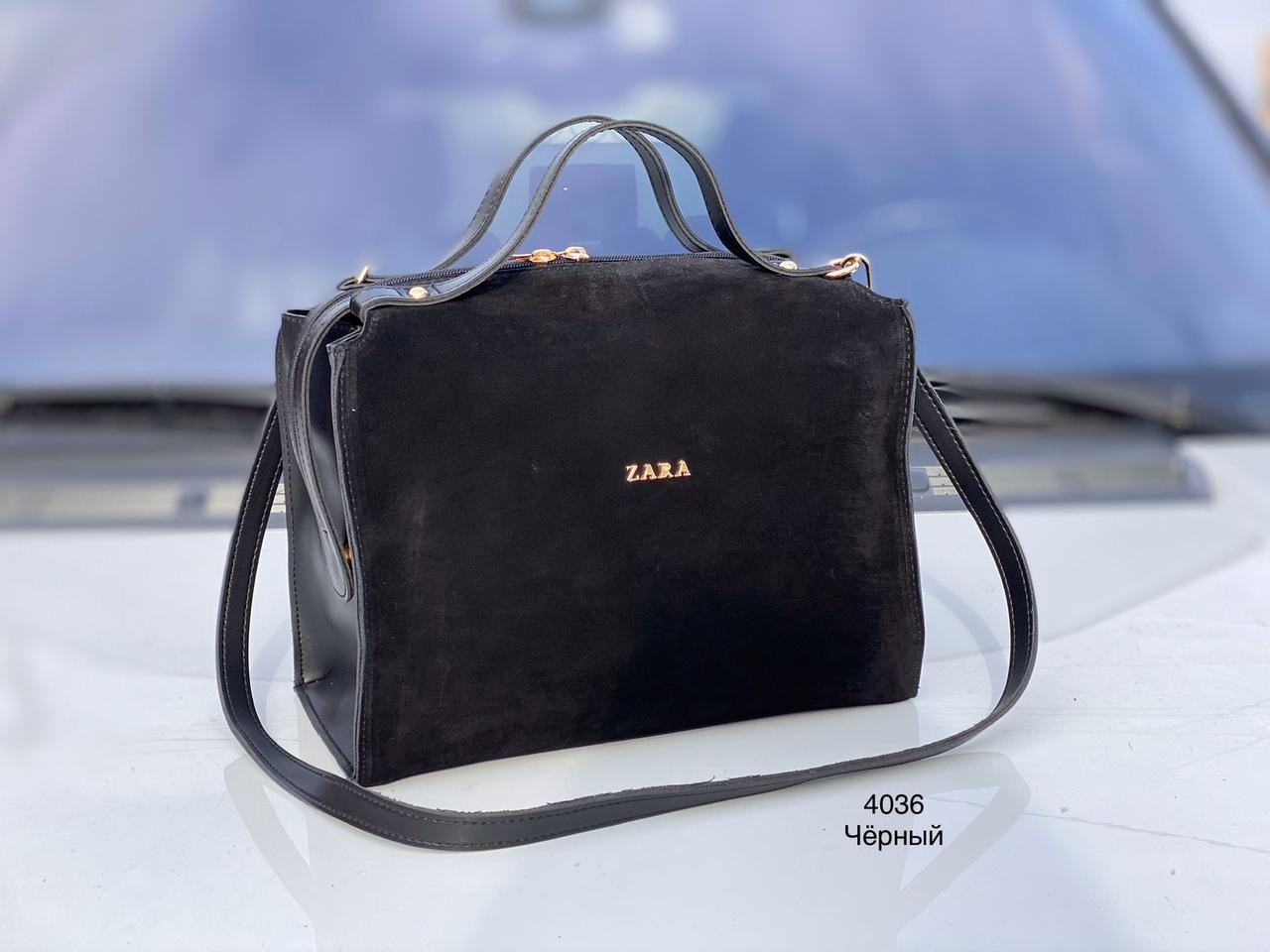 Черная замшевая сумка саквояж женская сумочка деловая классическая замша+экокожа