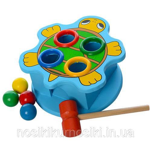 Деревянные игрушки стучалка забей шарик Черепаха