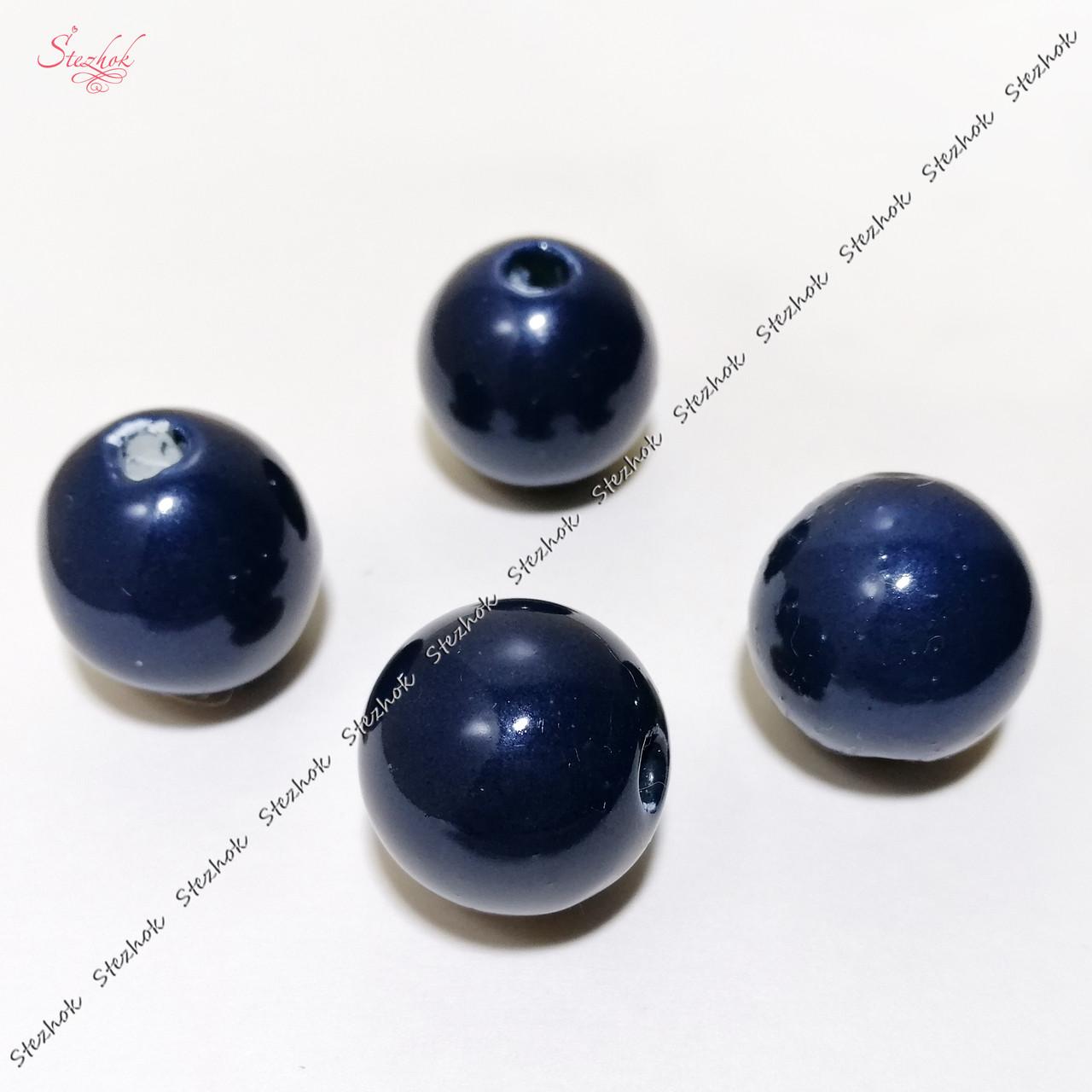 Круглая керамическая бусина 20 мм лаковая для рукоделия цвет синий