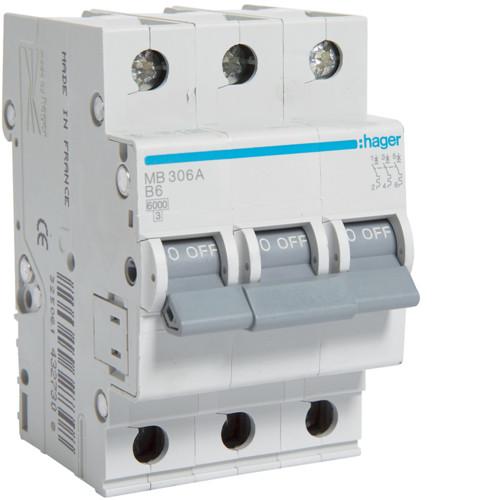 Автоматический выключатель Hager 3P 6kA B-6A 3M (MB306A)