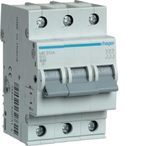 Автоматический выключатель Hager 3P 6kA B-10A 3M (MB310A)