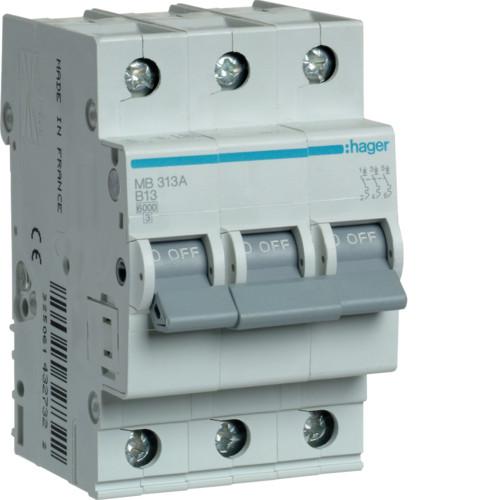 Автоматический выключатель Hager 3P 6kA B-13A 3M (MB313A)