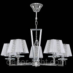 Люстра 5-ти лампова, класична, кришталем, з абажурами для залу, спальні 2451
