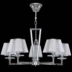 Люстра 5-ти ламповая, классическая, с хрусталем, с абажурами для зала, спальни  2451