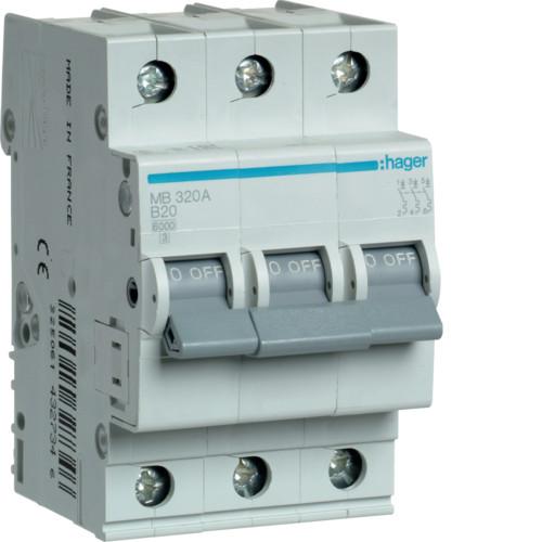 Автоматичний вимикач Hager 3P 6kA B-20A 3M (MB320A)