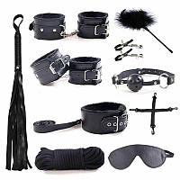 Набор БДСМ игрушки 10 в 1 Садо мазо игры, плетка, кляп, веревка, наручники, маска