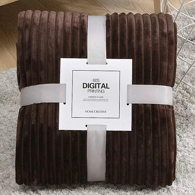 Плед теплый плюшевый мягкий в полоску материал велсофт Original blanket евро 200*230см кофейный
