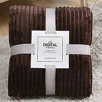 Плед теплый плюшевый мягкий в полоску материал велсофт Original blanket евро 200*230см кофейный, фото 1