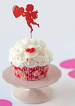 Топпер для капкейов Ангел с сердцем , Красный ангел на кекс, Топперы для кексов