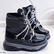 36 р. Ботинки женские зимние черные кожаные на платформе, из натуральной кожи, натуральная кожа