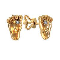 Серьги гвоздики золотые Ножки Малыша