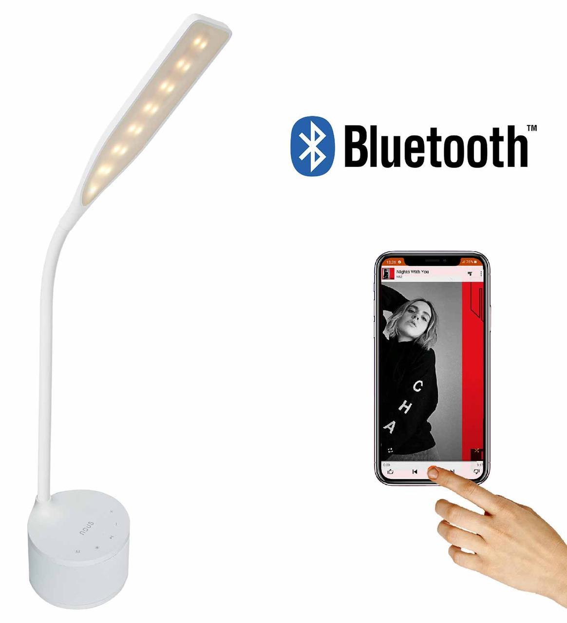 LED лампа настільна NOUS S7 White 8W 2700-6500K з Bluetooth колонкою