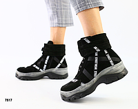 Ботинки женские черные из натуральной замши на низком ходу