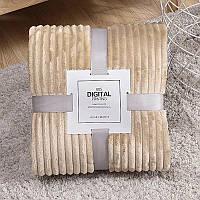 Плед теплый плюшевый мягкий в полоску материал велсофт Original blanket евро 200*230см Кремовый, фото 1