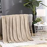 Плед теплый плюшевый мягкий в полоску материал велсофт Original blanket евро 200*230см Кремовый, фото 2