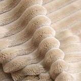 Плед теплый плюшевый мягкий в полоску материал велсофт Original blanket евро 200*230см Кремовый, фото 4