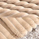 Плед теплый плюшевый мягкий в полоску материал велсофт Original blanket евро 200*230см Кремовый, фото 5