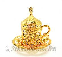 Турецкая чашка Демитассе для кофе 60 мл, цвет: золото