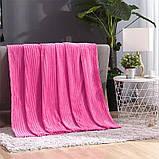 Плед теплый плюшевый мягкий в полоску материал велсофт Original blanket евро 200*230см Малиновый, фото 2