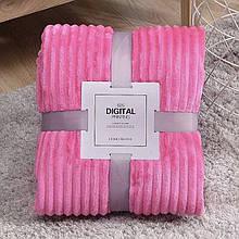 Плед теплый плюшевый мягкий в полоску материал велсофт Original blanket евро 200*230см Малиновый