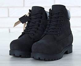 Мужские (женские) зимние ботинки Timberland 6 inch Utility Black с натуральным мехом, фото 3