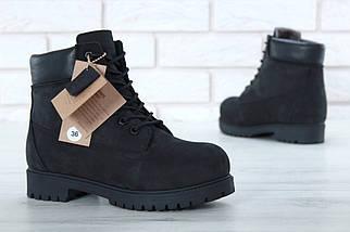 Мужские (женские) зимние ботинки Timberland 6 inch Utility Black с натуральным мехом, фото 2