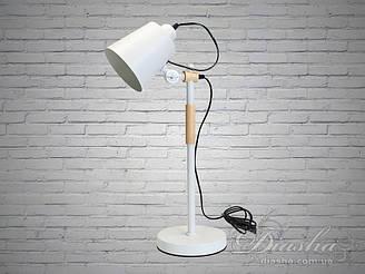 Стильна настільна лампа з дерев'яним каркасом патрон Е 27 колір білий Діаша&1026/T BK