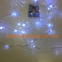 Гирлянда для декора на батарейках, цвет белый (холодный), 10 метров, 100 светодиодов