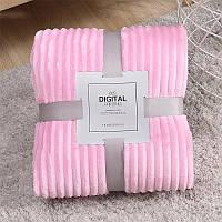 Плед теплый плюшевый мягкий в полоску материал велсофт Original blanket евро  200*230см Розовый, фото 1