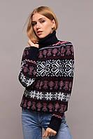Молодёжный  вязанный свитер-гольф с новогодними узорами с 44 по 50 размер