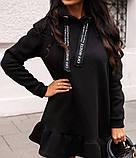 Туника платье на флисе. Цвета: хаки , красный , чёрный, фото 3