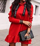 Туника платье на флисе. Цвета: хаки , красный , чёрный, фото 6