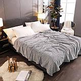 Плед теплый плюшевый мягкий в полоску материал велсофт Original blanket евро 200*230см Светло Серый, фото 3