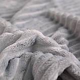 Плед теплый плюшевый мягкий в полоску материал велсофт Original blanket евро 200*230см Светло Серый, фото 4
