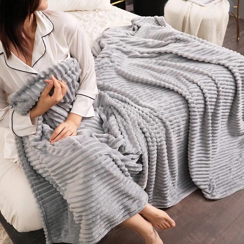 Плед теплый плюшевый мягкий в полоску материал велсофт Original blanket евро 200*230см Светло Серый