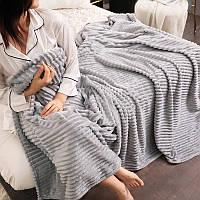 Плед теплый плюшевый мягкий в полоску материал велсофт Original blanket евро 200*230см Светло Серый, фото 1