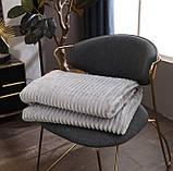 Плед теплый плюшевый мягкий в полоску материал велсофт Original blanket евро 200*230см Светло Серый, фото 2